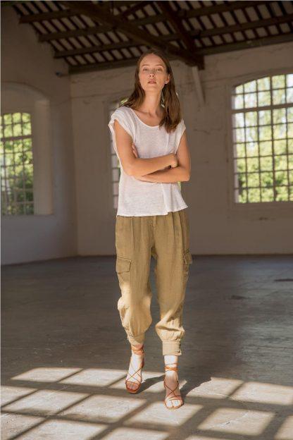Pantalón cargo 100% lino