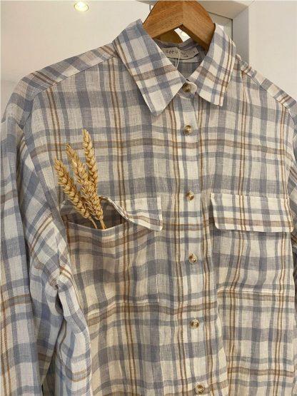 Camisa de cuadros 100% lino