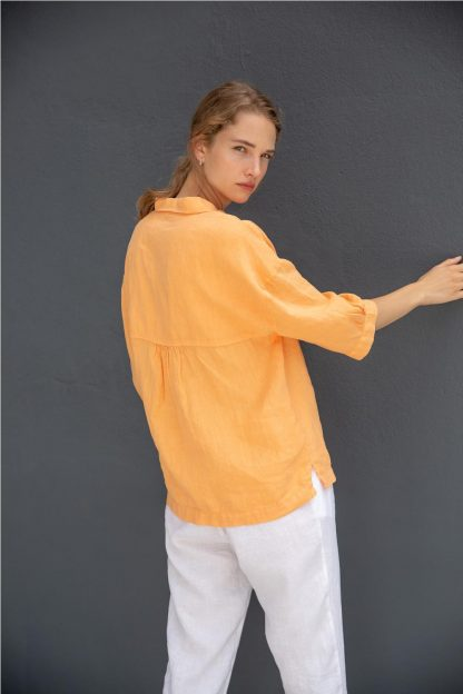 Camisa 100% lino NARANJA