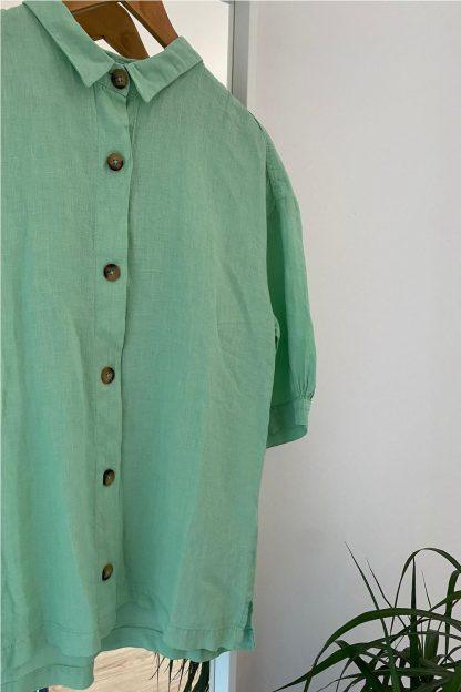 Camisa 100% lino VERDE