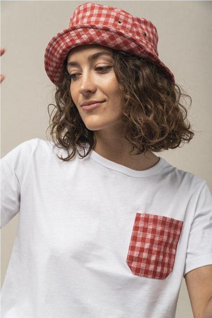 Camiseta bolsillo vichy ROJO